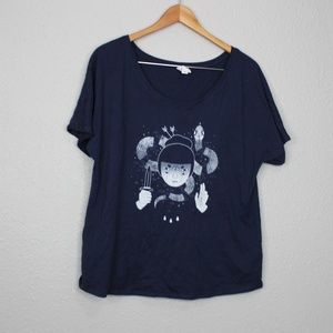 Bella Blue Crew Neck Girl with Knife Print Tee Med